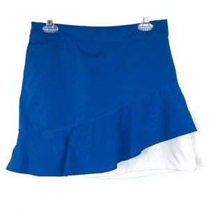 Lady Hagen Blue White Layered Ruffle Skirt Skort 4